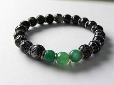 Black and green agate mens stretch gemstone bracelet