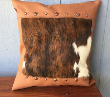 Leather pillow with Hair on cowhide fur inset and with beautiful studs