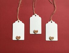 20 White Labels Tags With Wooden Love Heart Wedding Wish Gifts 7 X4  Pre-strung