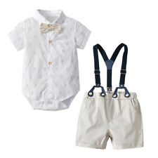 2PCS Newborn Baby Boy Summer Romper Tops+Straps Shorts Gentleman Clothes Outfit