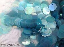 VINTAGE French SEQUINS Aqua Teal Iris PAILLETTES Spangles Dangles Peekaboo lot