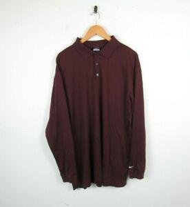 Nike Dri-fit Golf Maroon Burgundy Long Sleeved Sportswear polo shirt size XL