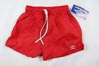 Vintage 90s New Umbro Youth Large Spell Out Nylon Soccer Shorts Solid Red