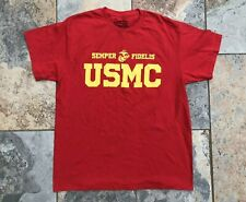 USMC Scarlet and Gold T-Shirt Size Large, 100% Cotton Pre-owned