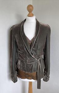 STILLS Stunning Gold/turquoise Velvet Jacket With Velvet Top Silk Blend Size 38
