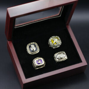 4 Pcs 1969 1973 1974 1976 Minnesota Vikings Championship Ring with Wooden Box