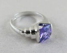 Sterling Silver Cocktail Ring Purple Stone China 5.2g Size 7.5 [2165]