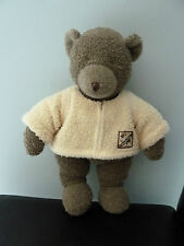 76- DOUDOU PELUCHE MOULIN ROTY OURS THEOPHILE 35cms GRIS  MARRON PULL ECRU - TBE