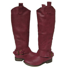 New Women's Stack Heel Knee High Riding Boots Berry winter snow Ladies size 6