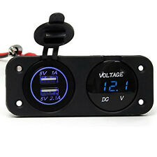 DC 12V Dual USB Charger Adapter Blue LED Voltmeter Waterproof Car Boat Panel