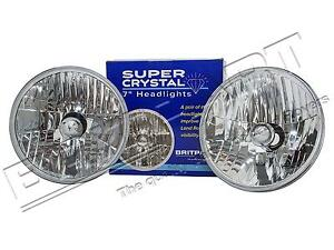 """LAND ROVER DEFENDER / SERIES & RR CLASSIC 7"""" CRYSTAL HALOGEN HEADLAMP PAIR LHD"""