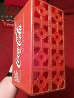 VINTAGE COCA COLA SODA 16 OZ. 8-PACK RED PLASTIC BOTTLE CARRIER CADDY CRATE USED