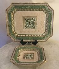 "Fitz & Floyd Gregorian Collection 16"" Serving Platter&Canapé Plate. Doves. Disc."