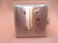 QTY 1 SWITCH PLATE STAINLESS STEEL S52171 BRYANT 2 GANG RECEPTACLE BLANK