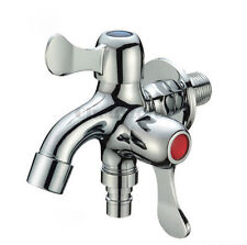 Dual Way Dishwasher Water Supply Faucet Washing Mach Tap Wall Mounted Tub Spout