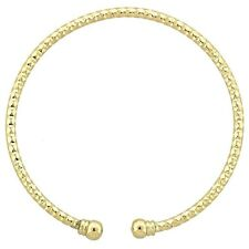 9CT Yellow Gold Filled Open Ended Stackable Diamond Cut Bangle  (B37)