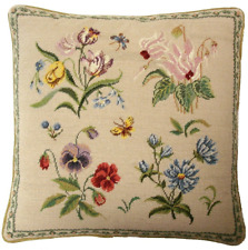 "16"" x 16"" Handmade Wool Needlepoint Petit Point Herbs and Butterfly Pillow"