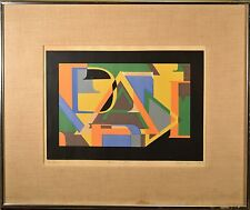 "Modern Art Serigraph Letter Collage, Signed ""Marta"" Collection of Spanish Art"