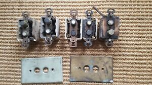 Vintage Lot of 5  Push Button Porcelain Body Light Switches + 2 Switch Plates