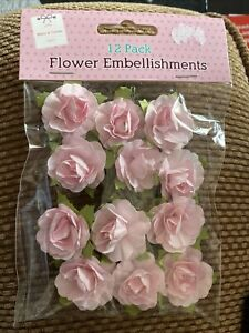 Light Pink Flower Embellishments: Pack of 12, Art & Craft, Brand New
