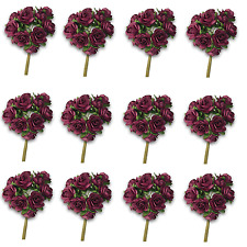 Craft Flowers -12mm Qty x 144 Mini Mulberry Paper Rose - Wine