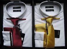 Mens Voeut Fashion Shirt Tie Cuff Links Box Set White Wine Size XS S M L XL XXL