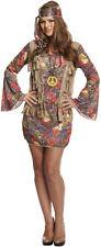 Womens GROOVY HIPPIE Dress Fancy dress 60s 70s Party Lady Hen Night Costume