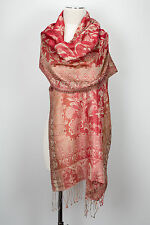 Pashmina Jamawar Schal Seide, silk stole scarf soie écharpe foulard Rot Weiß