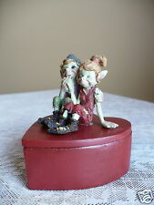 PIXIE COUPLE COURTSHIP HEART SHAPED TRINKET BOX  RESIN 4 IN.  ANTHONY FISHER NEW