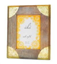 Photo Frame Natural Wood Angled Edges With Brass Corners For 5x7 Picture India