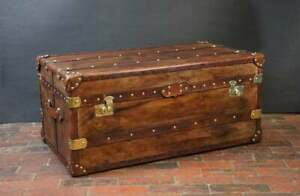 Antique Handmade English Tan Leather Coffee Chest Coffee Table Trunk Box TY
