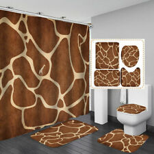 Giraffe Print Brown Shower Curtain Bath Mat Toilet Cover Rug Bathroom Decor