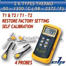Termómetro Digital con Metal Temperatura Sonda -50ºC a 1300ºC 4 Tipo K Termopar