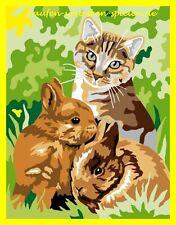 Malen nach Zahlen Katze mit Schmetter Komplettset  22 cm x 28 cm  erstes Mischen