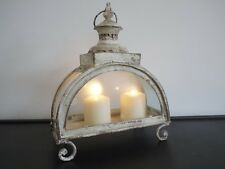 Antique French Vintage Style Large Glass Lantern Candle Holder Cream Shabby Chic