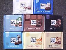 8 x Ritter Sport -Assortment of 8 flavors- chocolate bars of 100 gr