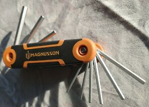 MAGNUSSON Imperial: Durable Folding HEX / ALLAN KEY Set / Tool 9 Piece *NEW*