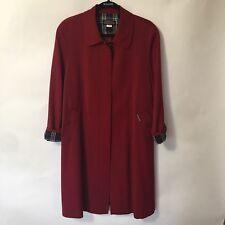 Belissang sz M Korean Long Winter Womens Coat Outwear Red w/ black plaid trim