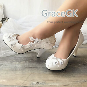 Wedding Shoes Lace Gems Bridal Bridemaid Flat High Low Kitten Heels