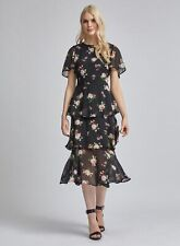 Dorothy Perkins Womens Black Angel Sleeve Tiered Midi Dress Round Neck Floral