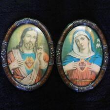 Antique Jesus Virgin Mary Catholic Lithograph Convex Glass Tigerwood Oval Frames