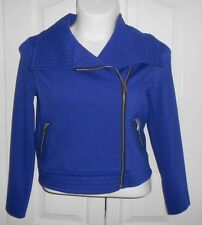 Womens M Medium Fitted Jacket Waist Length Off Set Zipper Violet Worthington NWT