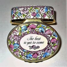 """HALCYON DAYS ENAMEL BOX- """"THE BEST IS YET TO COME"""" - SWEET PEAS - FLOWERS - MIB"""