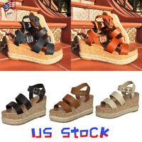 Platform Buckle Women Wedge Heels Sandals Espadrilles Summer Lady Shoes Strap US