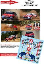 DECALS 1/32 REF 1002 CITROEN XSARA WRC DUVAL RALLYE AUSTRALIE RALLY 2005