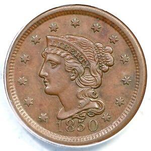 1850 N-3 ANACS AU 55 Braided Hair Large Cent Coin 1c