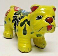 Talavera Pottery Yellow Bulldog Mexican Folk Art