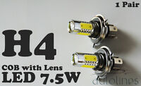 2 x H4 7.5W 12V 600LM LED COB Lens Xenon Super White Fog Lamp Globes Bulbs