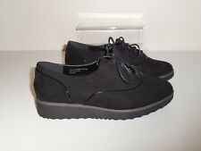 Flat Black Faux Suede Lace Up  Shoes Size 9 Wide (EEE) BNWT-Evans RRP £36