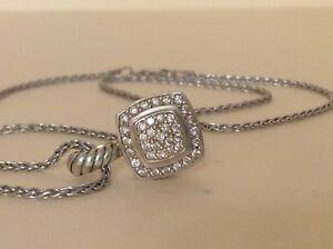 David Yurman SS 925 Petite Albion Pave Diamond Enhancer Pendant